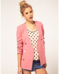 ASOS Collection | Pink Asos Double Breasted Blazer with Gold Buttons | Lyst