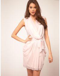 ASOS Collection | Pink Asos Dress with Belted Wrap | Lyst
