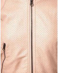 ASOS Collection | Pink Asos Petite Pu Cropped Airtex Bomber Jacket | Lyst