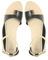 ASOS   Natural Asos Flurry Leather Cut Out Sandals with Toe Loop   Lyst