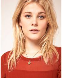 Cath Kidston - Natural Antique Brass Cream Heart Pendant Necklace - Lyst