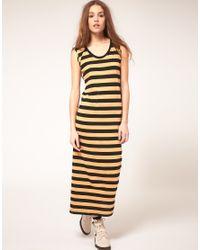 DIESEL | Yellow Stripe Maxi Dress | Lyst