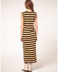 DIESEL - Yellow Stripe Maxi Dress - Lyst