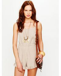 Free People | Natural Printed Romper | Lyst