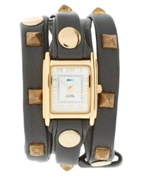 La Mer Collections | Pyramid Stud Black Leather Wrap Watch | Lyst