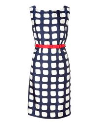 MILLY | Blue Navy and Cherry Belted Sheath Dress | Lyst