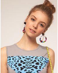 ASOS | Multicolor Pom Pom Drop Earrings | Lyst