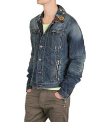 Balmain | Blue Collar Badges Washed Denim Sport Jacket for Men | Lyst