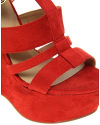 River Island | Red Erika Cut Out Platform Wedges | Lyst