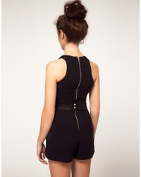 River Island - Black Playsuit With Belt - Lyst