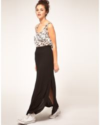 River Island - Black Side Split Maxi Skirt - Lyst
