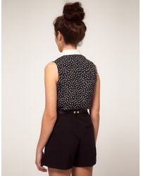 River Island | Black Playsuit With Lip Print | Lyst