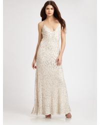 Aidan Mattox | Natural Sequined Gown | Lyst