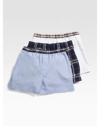 Burberry - Blue Classic Check Boxers, 3-pack for Men - Lyst
