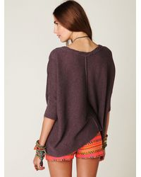 Free People | Purple Boxy Oversized Sweater | Lyst
