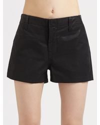 J Brand | Black Lola High-rise Coated Shorts | Lyst