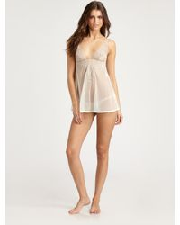 La Perla | Natural Sheer Embroidered Babydoll | Lyst