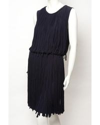 Lanvin - Blue Sleeveless Fringe Dress - Lyst