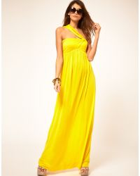 Miss Sixty | Yellow Maxi Dress With Asymmetric Straps | Lyst