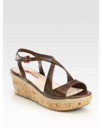 Prada | Brown Criss-Cross Cork Wedge Sandals | Lyst