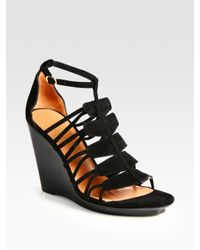 Robert Clergerie | Black Jalias Suede Gladiator Wedge Sandals | Lyst