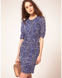 Whistles | Blue Bella Bodycon Dress In Multipetal Print | Lyst