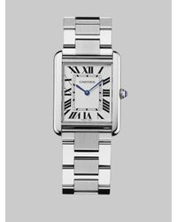 Cartier | Metallic Tank Solo Stainless Steel Watch On Bracelet | Lyst