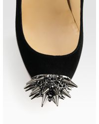 Christian Louboutin | Black Asteroid Suede and Patent Leather Spike Pumps | Lyst