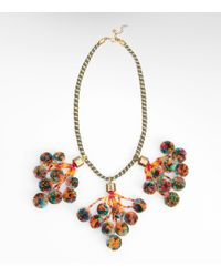 Tory Burch | Multicolor Pom Pom Necklace | Lyst
