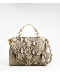 Tory Burch | Natural 797 Python Satchel | Lyst