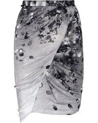 Aminaka Wilmont | Gray Printed Draped Satin-jersey Skirt | Lyst
