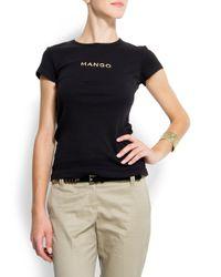 Mango - Black Logo T-shirt - Lyst