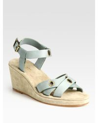 A P C Leather And Suede Grommet Wedge Sandals In Blue Lyst