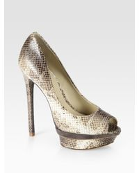 B Brian Atwood | White Florencia Snake-print Leather and Suede Platform Pumps | Lyst