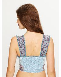 Free People - Blue Mixed Print Ruffle Crop Top - Lyst