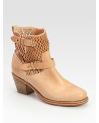 Rag & Bone | Natural Perforated Leather Moto Ankle Boots | Lyst