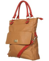 TOPSHOP | Brown Leather Perforated Tote Bag | Lyst