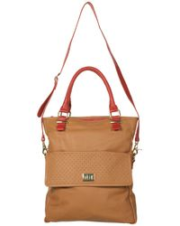 TOPSHOP - Brown Leather Perforated Tote Bag - Lyst