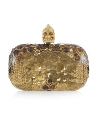 Alexander McQueen | Metallic Sequin Skull Box Clutch | Lyst