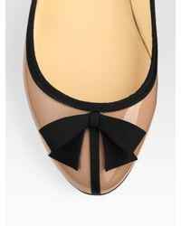 Christian Louboutin | Beige Patent Leather Bow Ballet Flats | Lyst