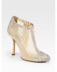Oscar de la Renta | Beige Embellished Satin and Mesh Ankle Boots | Lyst