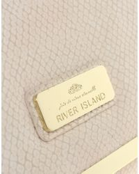 River Island - Natural Fold Over Clutch - Lyst