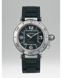 Cartier | Pasha Seatimer Stainless Steel Watch On Black Rubber Bracelet | Lyst
