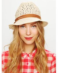 Free People | Natural Salena Crochet Texture Hat | Lyst
