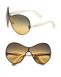 Miu Miu | Metallic Shield Sunglasses | Lyst
