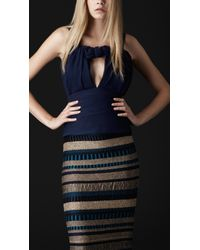 Burberry Prorsum | Blue Cutaway Bow Silk Top | Lyst