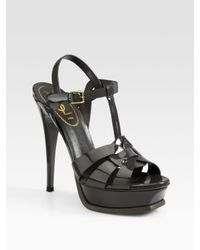 fd09ddd82a Saint Laurent Ysl Tribute Patent Leather Platform Sandals in Black ...