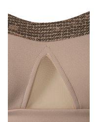 TOPSHOP - Natural Sequin Panel Bralet - Lyst