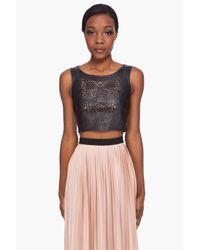 Opening Ceremony | Black Laser Cut Leather Pinafore Top | Lyst