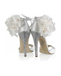 Brian Atwood | White Aurora Embellished Satin Sandals | Lyst